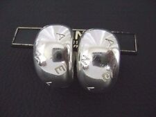 Auth Chanel Vintage Sterling Silver(925) Thick Half Hoop Clip Earring