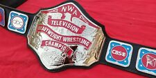 NWA TELEVISION HEAVYWEIGHT TITLE IN 4MM ZINC NICKEL PLATED &FLOPPY LEATHER STRAP