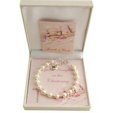 Girls Christening Bracelet with Pearls. Gift for Daughter, Goddaughter etc