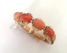 GORGEOUS NATURAL CORAL DIAMOND CUSTOM LADIES BRACELET 18K SOLID YELLOW GOLD