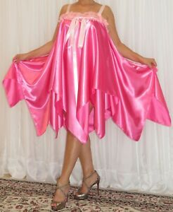 VTG Lingerie Double Layer Satin Slip FULL Sweep Negligee Babydoll Nightgown M-6X