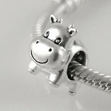 Happy COW-Calf-Bull-Animal-Genuine Solid 925 sterling silver European charm bead