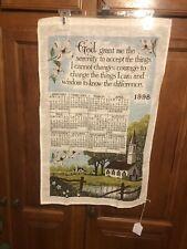 "Vintage 1998 Linen Fabric Tea Towel Wall Calendar ~ Church ""Serenity Prayer"""