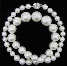 "pearl round beads necklace 18"" 100% Real 8-14mm white shell"