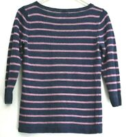 Talbots Women's Small Crewneck 3/4 Sleeve Striped Sweater Navy & Pink