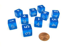 Pack of 10 Transparent 6-Sided D6 16mm Numbered Dice - Blue