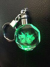 Pokemon PIKACHU Love Crystal Key Chain LED light Shining Clear Lightup key