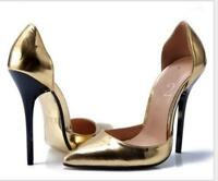 Ladies Womens Pointed Toe Patent Leather Stilettos High Heel Shoes 9Colors 14CM