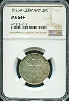 GERMANY - FANTASTIC HISTORICAL SILVER 2 MARK, 1926 A, NGC GRADED MS 64+, KM# 45