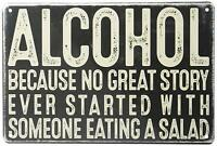 "Alcohol Salad Humorous Funny Metal Wall Decor Sign 8"" x 12"""