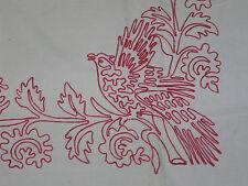 ANTIQUE TURKEY REDWORK Elaborate Hand Embroidery Bed Runner Lay Over Sham BIRDS