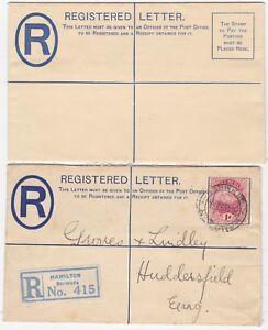 # 2 x KGV BERMUDA POSTAL STATIONERY REGISTERED ENVELOPES UNUSED & 1927 USED > UK