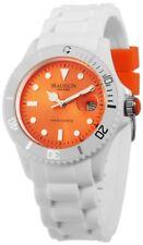 Madison NEW York White Fashion Unisex Damenuhr Herrenuhr Uhr WEISS orange