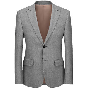 Classic Herringbone Men Tweed Suit Jacke Notch Lapel Grooms Tuxedos Groom Blazer
