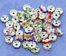 50/100Pcs Silver Plated Czech Crystal Spacer Rondelle Beads Charm Findings 6mm