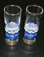 VINTAGE ROYAL CARIBBEAN - SAVE THE WAVES - SET OF 2 TALL CLEAR SHOT GLASSES