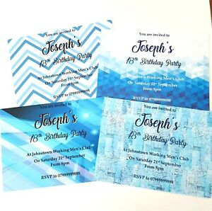 Boys personalised birthday party invitation blue teen design geo 18th 13th 6th