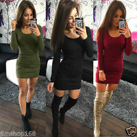 Fashion Women Long Sleeve Tops Casual Blouse T Shirt Slim Party Short Mini Dress