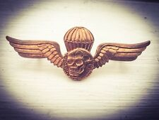 Metal Cap Badge Skull Wings Parachute Military Steampunk Goth Biker Hells Angel