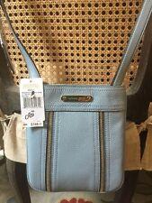 NEW Michael Kors Moxley Leather Crossbody Handbag Pale Blue Zipper Detail $148