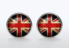 Gift Bag + Union Jack cuff links Silver plated Cufflinks British Flag Round UK