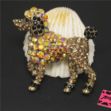 New Betsey Johnson Cute AB Brown Poodle Dog Crystal Charm Brooch Pin Gift