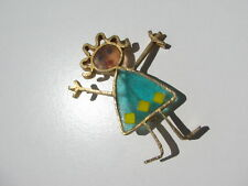 RARE SCARCE VTG. JOY FIGURAL STICK GIRL PERSON STAIN GLASS RESIN INLAID BROOCH