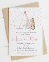 10 Personalised Peter Rabbit Initial Christening/Baptism Invitations Blue/Pink