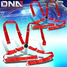 Pair Universal 4 Point 2 Red Nylon Strap Harness Safety Camlock Seat Beltbelts