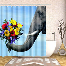 Shower Curtain Decor Set Elephant Love Flowers Design Bathroom Curtains 12 hooks