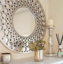 Metallic Silver Round Mirror Large Circle Art Deco 63cm Bathroom Bedroom Lounge