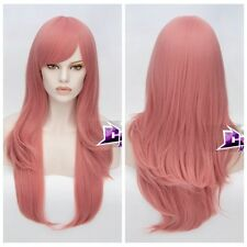 70CM Dark Pink Long Wavy Hair Lolita Anime Daily Party Costume Cosplay Wig + Cap