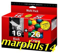 LEXMARK 16 & 26 Multipack Genuine Black & Colour Ink Cartridges Original