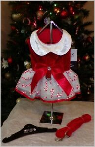 NWT Doggie Design Special Holiday Red White Candy Cane Harness Dress XS S M