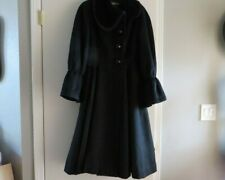 Vintage 1950s Princess Coat LILLI ANN Black Wool Velvet Trim Full Skirt