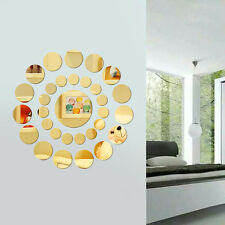 31 x DIY Modern 3D Round Mirror Wall Sticker Decor Decal Art Mural Home Bathroom