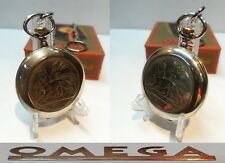 VARY RARE POCKET WATCH OMEGA ORTHODOX SWISS MADE OPEN FACE BOX AND CHAIN