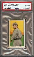 Rare 1909-11 T206 HOF Roger Bresnahan Batting Piedmont 350 St Louis PSA 2 Good