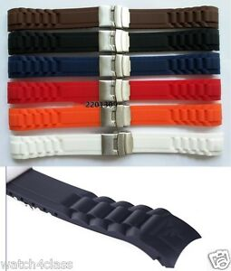 Curved End 22mm or 20mm SPORT DIVER Watch rubber Band Silicone Strap.bracelet