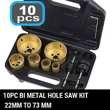 10PC BI Metal Hole Saw Holesaw Kit 22mm to 73 mm Tool Set W/Case 10piece