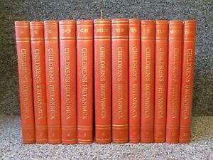 Children's Encyclopaedia Britannica 12 Volume Set Red Faux Leather Bindings