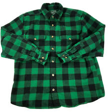 Woolrich Button Down Flannel Adult L Green Plaid  Long Sleeve Mens