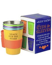 """Bapon Organix Stainless Steel Drinking Cups W/ Silicone Sleeves (Kids 4-Pack) """""""