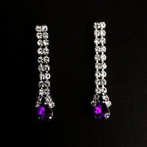 Victorian Edwardian Art Nouveau Deco 20s Black Crystal Chandelier Stud Earrings