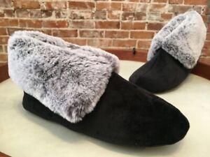 Charter Club Black Faux Bur Memory Foam Slipper Bootie S 5-6 New