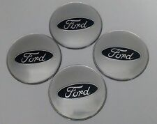 65mm Ford SILVER CENTER CAP EMBLEMS STICKERS DECALS  Fits Factory Wheels