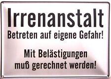 Irrenanstalt Funschild Fun Schild Blechpostkarte Blechschild 10,5 x 14,8 cm