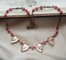 CZECH ANTIQUE ART DECO PEACH MIRROR + PINK SATIN GLASS Vintage Wired NECKLACE