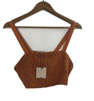 NWT Zara Basic Collection Women's Size M Orange Lace Crop Top