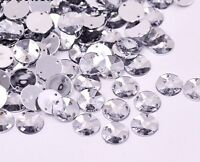 50 x Clear Sew on Acrylic Round Diamante Crystal Gems Rhinestone 10mm #3